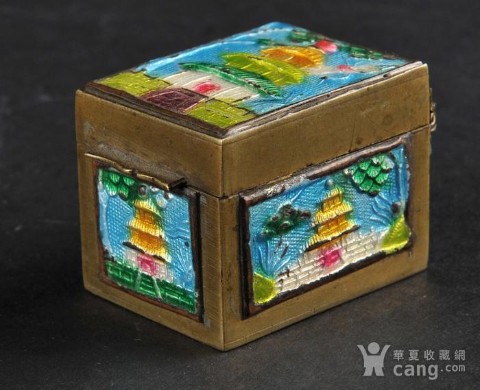 欧美回流 爆老铜胎烧蓝小盒两件图6