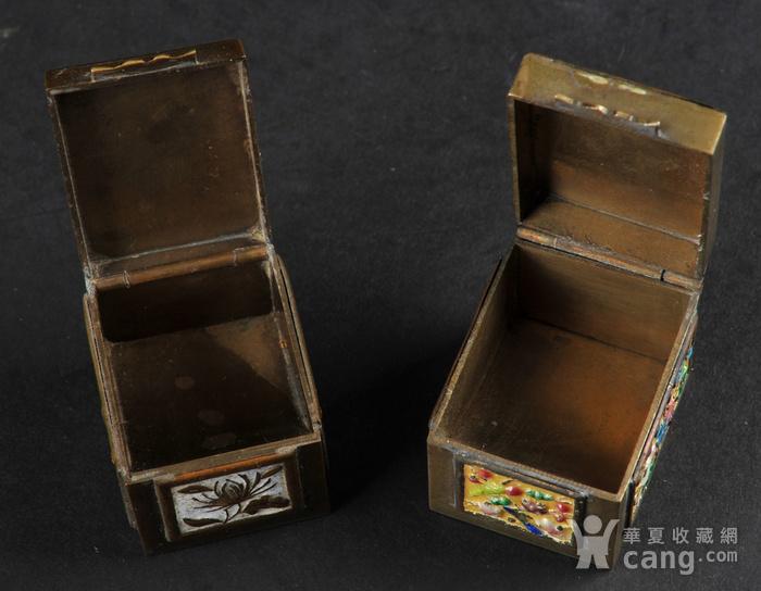 欧美回流 爆老铜胎烧蓝小盒两件图5