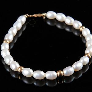 欧美回流 漂亮14K金珍珠手串