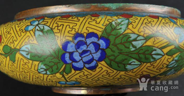 欧美回流 晚清民国铜胎掐丝珐琅花卉纹洗图7