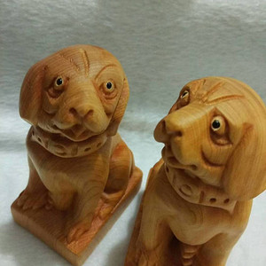太行崖柏木雕刻摆件旺财狗