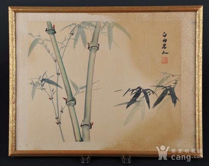 欧美回流 老设色绢本修竹图 带框图1