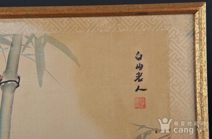 欧美回流 老设色绢本修竹图 带框图3