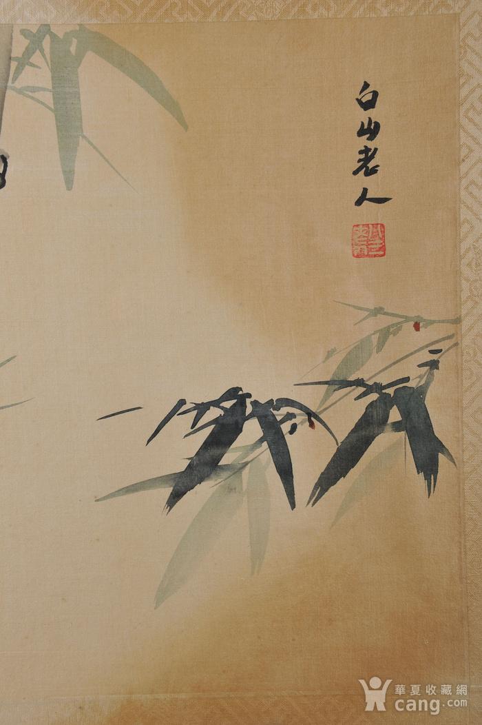 欧美回流 老设色绢本修竹图 带框图7