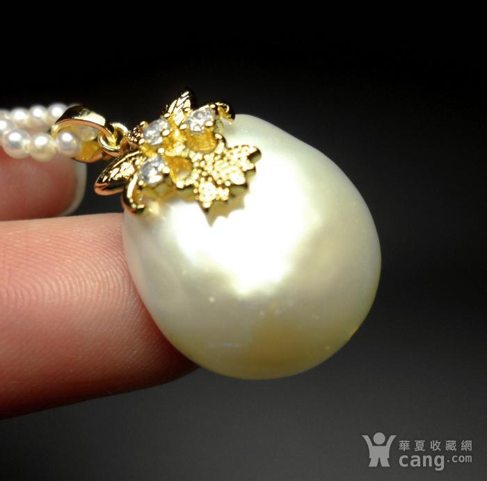 天然海水异形珍珠银镀金镶钻精美璀璨吊坠!图5