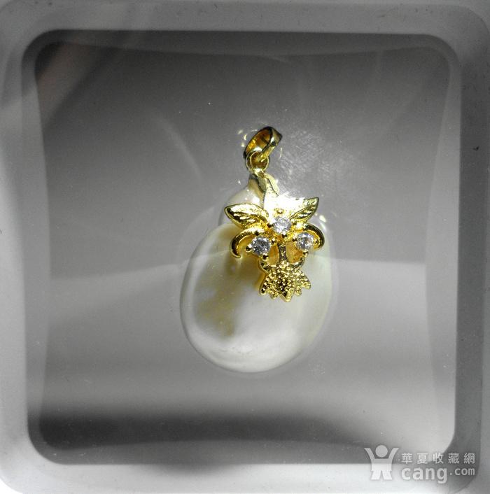 天然海水异形珍珠银镀金镶钻精美璀璨吊坠!图11