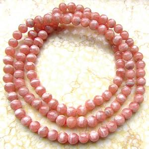 阿根廷进口!纯天然原矿无优化红纹石清新橘粉红色圆珠多圈手链