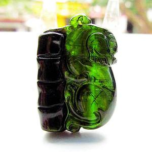 全通透玻璃体西瓜碧玺!巴西进口天然绿碧玺珍贵满绿招财貔貅吊坠