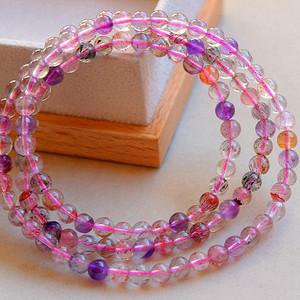 纯天然紫发晶草莓晶精品圆珠水晶手链!