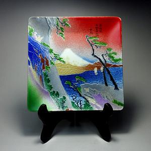 日本回流富士山铜胎七宝烧方盘!