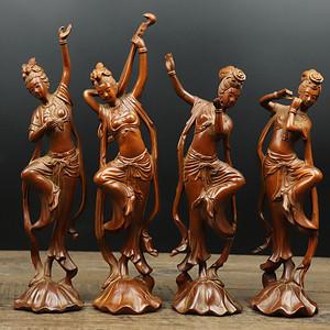 联盟 旧藏黄杨木雕四大美女人物摆件