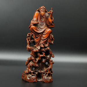 联盟 旧藏黄杨木雕老子问天摆件
