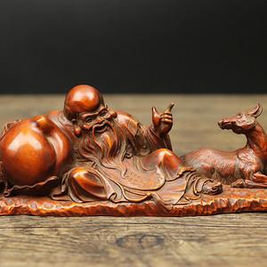 联盟 旧藏黄杨木雕寿星笔架摆件