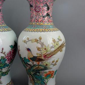 文革锦鸡牡丹纹粉彩观音瓶一对!