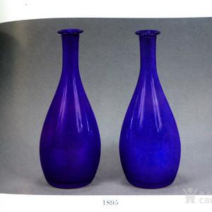 压轴 清代宝石蓝色老琉璃玉壶春瓶一对!