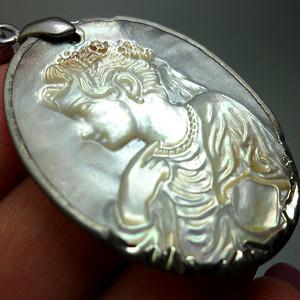 欧洲贝雕女头像银镶嵌吊坠挂件!