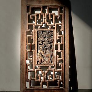 清代木雕镂空人物花板