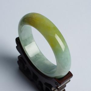 老坑冰种黄翡翠平安手镯 58mm  20HN08