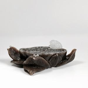 荷塘蛙趣 天然和田玉糖料莲花香插