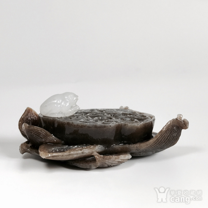 荷塘蛙趣 天然和田玉糖料莲花香插图2