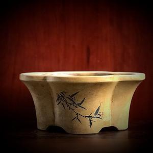 清晚 民国 海棠形紫砂盆一件