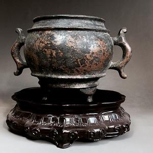 精品文房清供收藏 清代铜香炉一只
