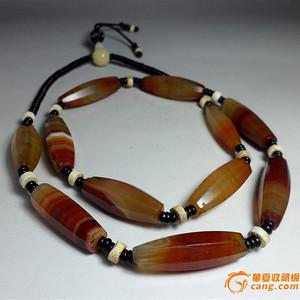 中古老八棱红缠丝玛瑙管珠项链!老砗磲配珠!