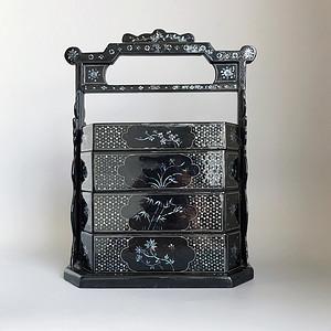 精品收藏漆器 木器 黑大漆嵌螺钿满工多层提盒
