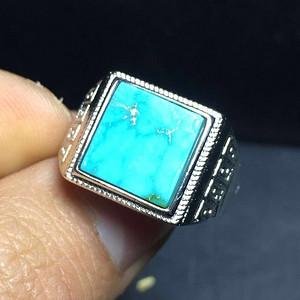 联盟 原矿精品高瓷蓝绿松石男款戒指需证书联系店主加十元