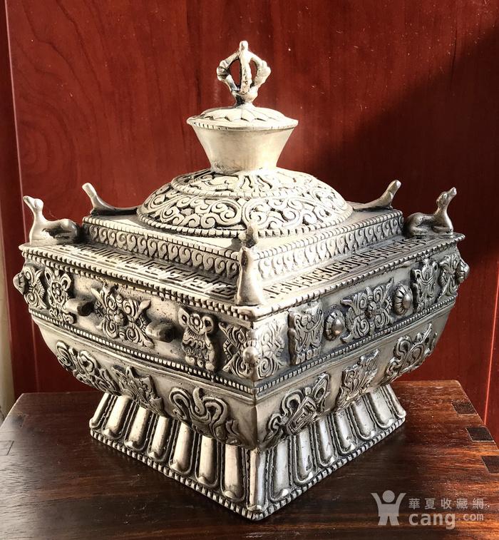 精品收藏级 藏传回流 包老百年的藏银香炉