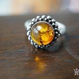 回流波罗的海925老银琥珀戒指