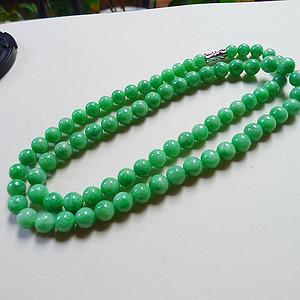自然光实拍!天然A货好种阳绿项链
