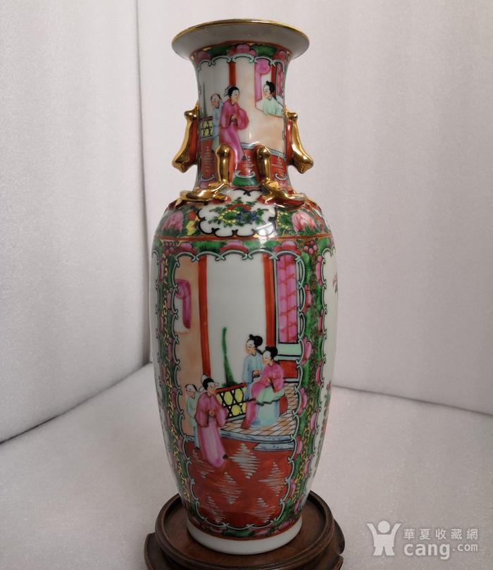 民国晚期广彩人物双耳瓶高30公分全品图1