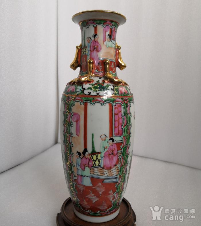 民国晚期广彩人物双耳瓶高30公分全品图2