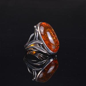 925银 天然琥珀戒指
