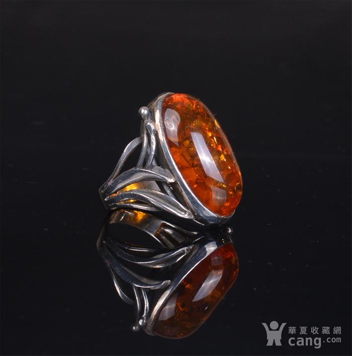 925银 天然琥珀戒指图1