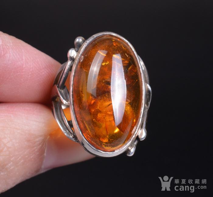 925银 天然琥珀戒指图4