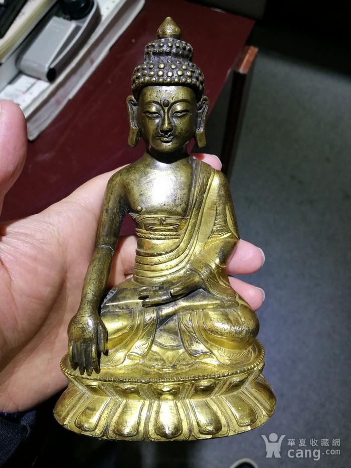 清 铜鎏金 释迦牟尼 佛像图1