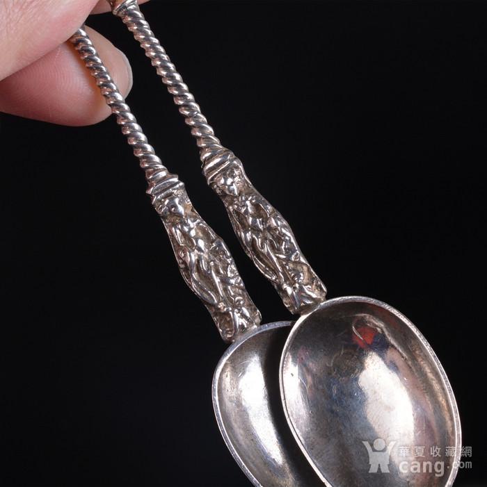 精美 银质勺子 一对图6