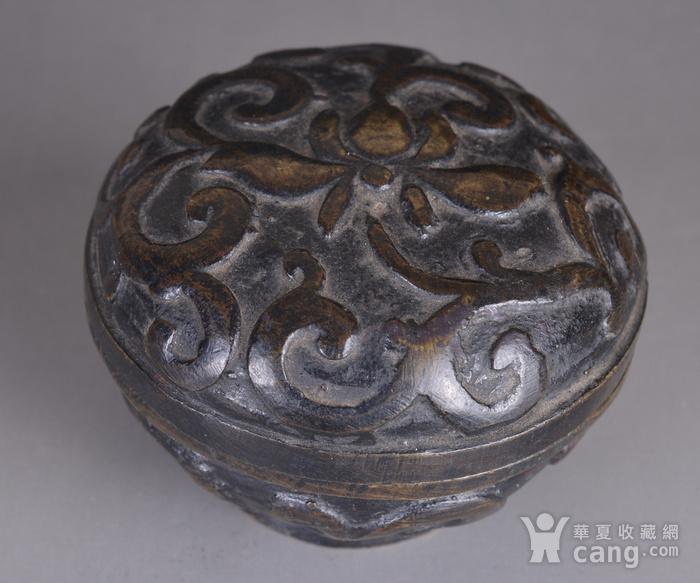 明 缠枝莲纹 铜香盒图4