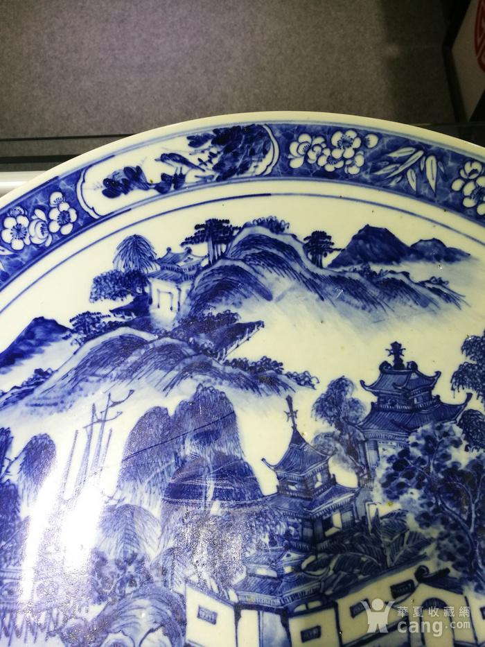 清 青花 风景人物 巨型圆盘图3