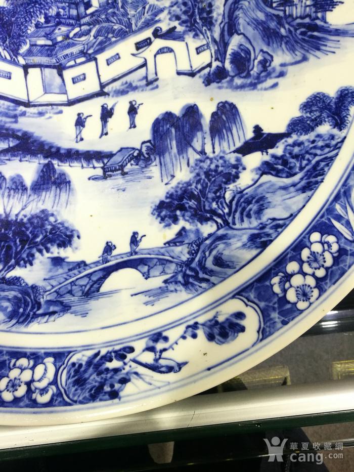 清 青花 风景人物 巨型圆盘图6
