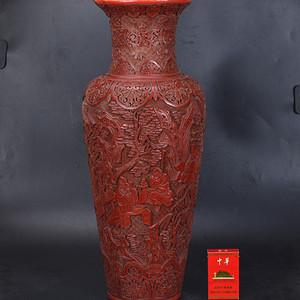清 剔红七贤图 大花瓶