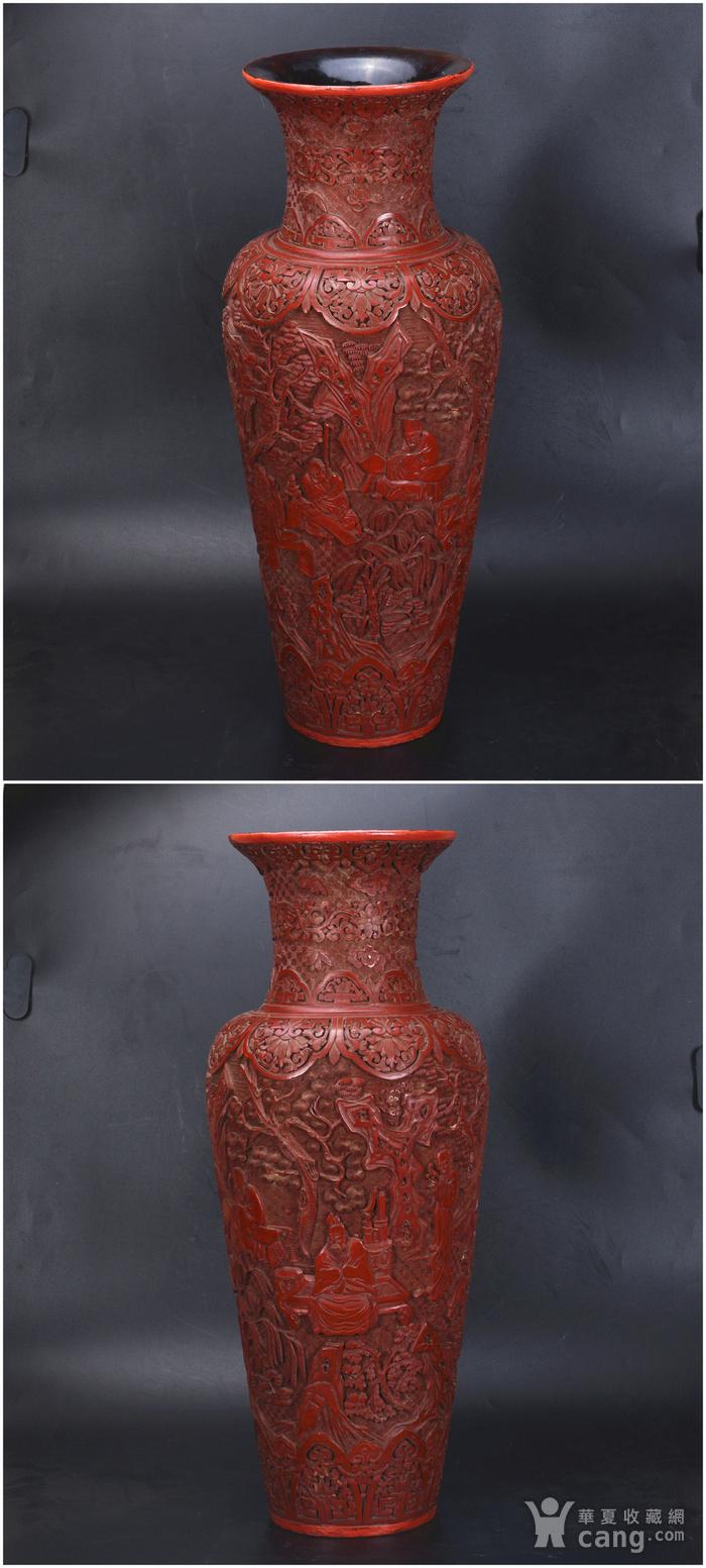 清 剔红七贤图 大花瓶图2