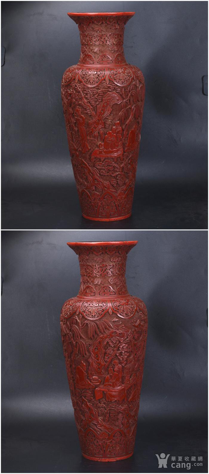 清 剔红七贤图 大花瓶图3