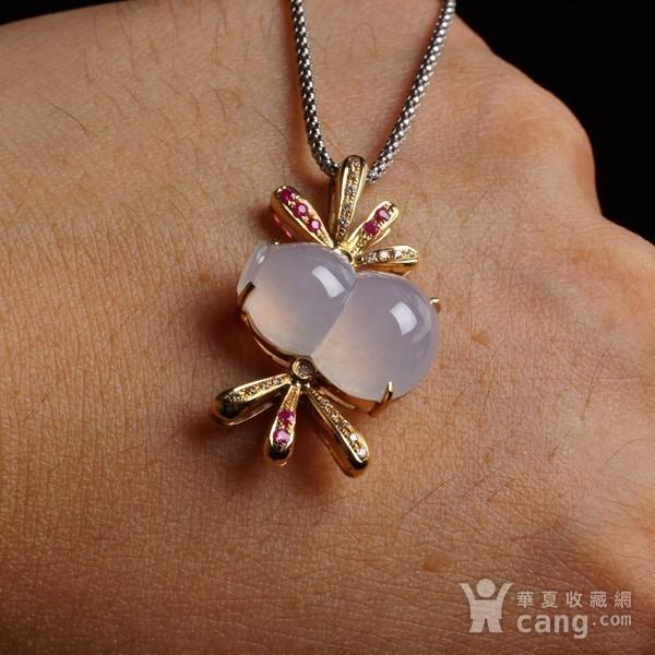 紫云 冰荧翡翠葫芦红宝石黄金伴钻吊坠图2
