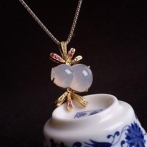 紫云 冰荧翡翠葫芦红宝石黄金伴钻吊坠
