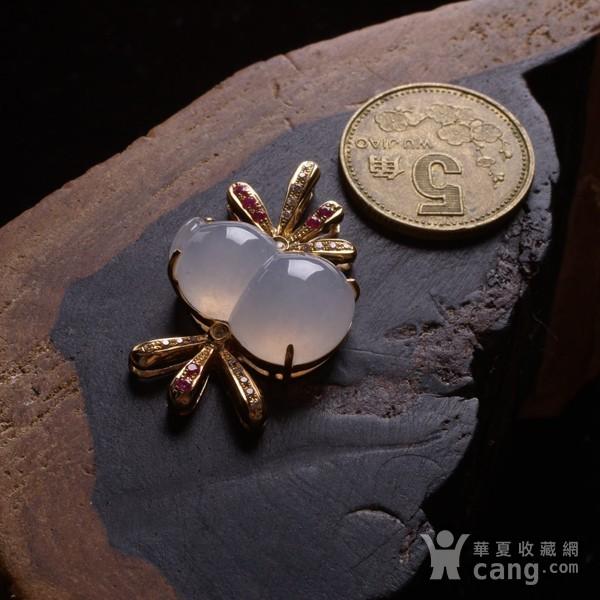 紫云 冰荧翡翠葫芦红宝石黄金伴钻吊坠图4