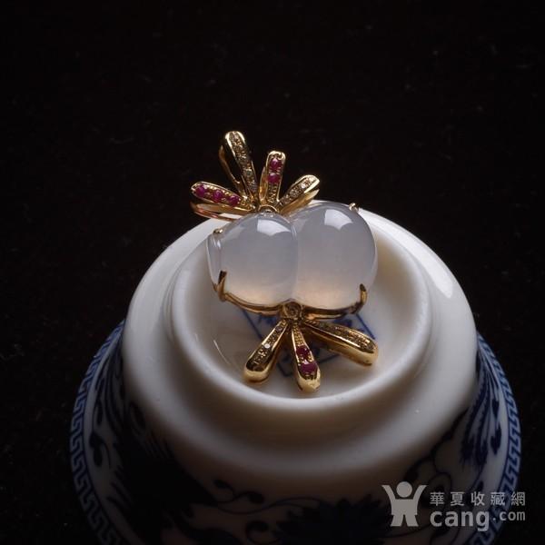 紫云 冰荧翡翠葫芦红宝石黄金伴钻吊坠图3
