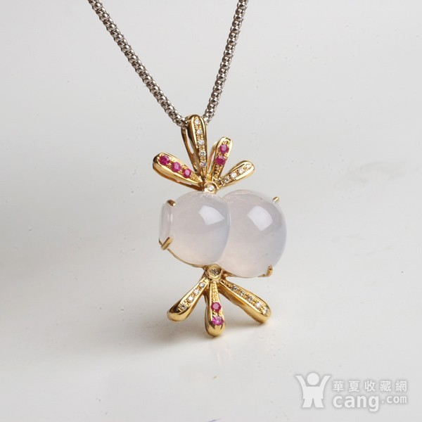 紫云 冰荧翡翠葫芦红宝石黄金伴钻吊坠图7